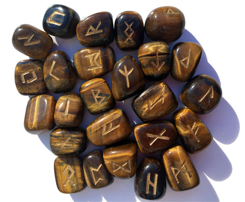 Golden Tigereye Runes Set - Cast a Stone