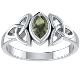 Triple knot Moldavite Ring