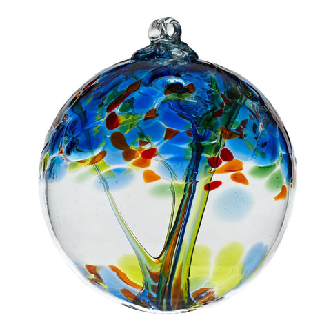 "Tree of Enchantment Ball -Tree of Dreams  6"" hand blown Art Glass Ornament"