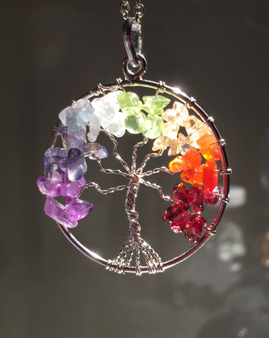 New! Chakra Tree of Life wire wrap Pendant! - Cast a Stone