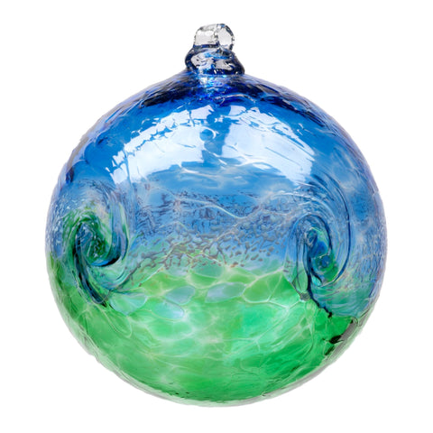 "Van Glow 3"" Blue and Green hand blown Art Glass Ornament"