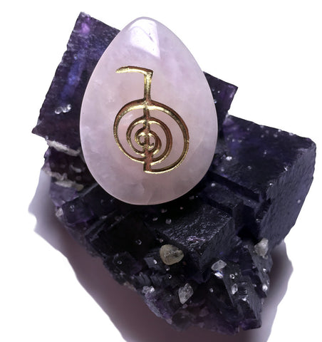 New! Original Reiki Stones© -Cho Ku Rei symbol- engraved on Rose Quartz Pocket Worry Stone - Cast a Stone