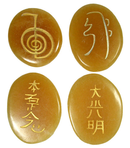 Golden Calcite Reiki Stones© set of 4 - Cast a Stone