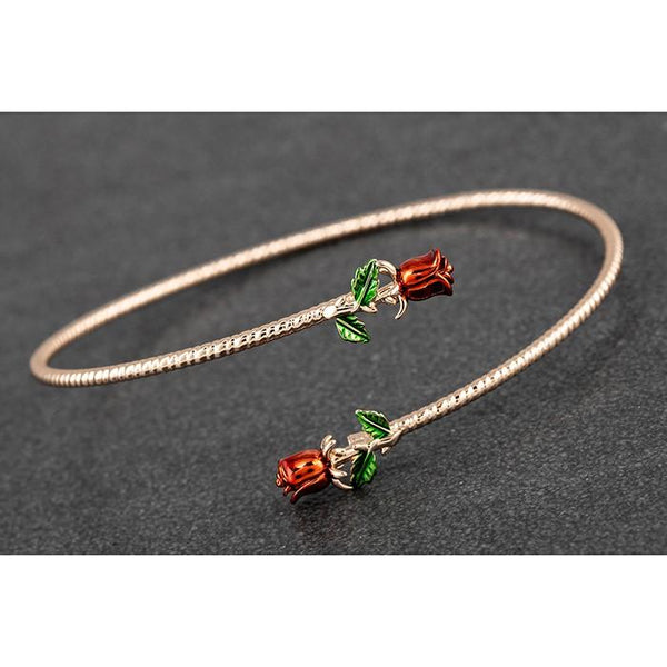 Red Roses Crossing Rose Gold Plated Bangle | Presentimes