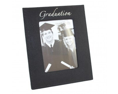"Juliana Black Fabric Graduation Photoframe 4"" x 6"""