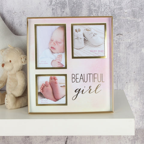 'Velvet Olive' Metal Photo Frame Collage Beautiful Girl