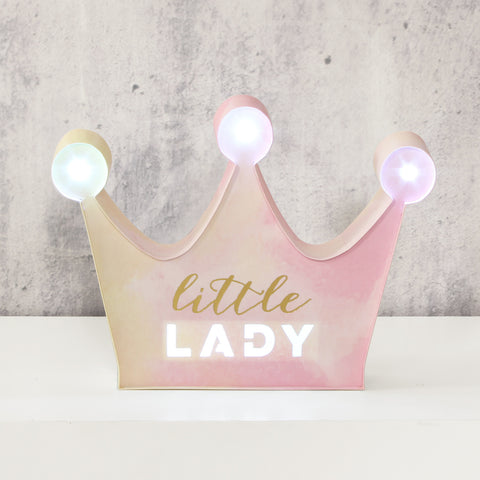 'Velvet Olive' Light Up Crown Plaque - Little Lady