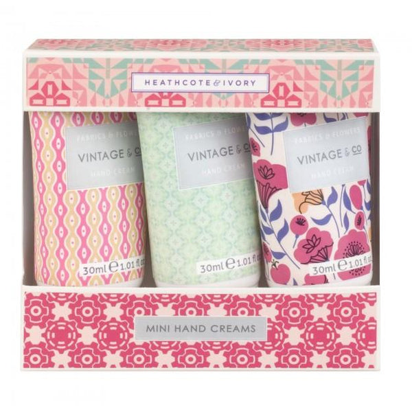 Vintage & Co Fabrics & Flowers Mini Hand Creams 3 x 30ml