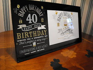 "Signography Birthday Glass Frame Black/Sil/Gold 6""x4""- 40th"