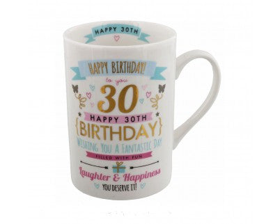 Signography Birthday Pink & Gold Design 30th Mug