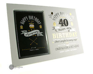 "Signography Birthday Boy MDF Photoframe 4"" x 6"" - 40th"
