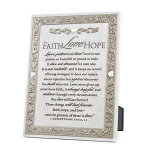 Faith Love Hope Collection Plaque 6in x 8in
