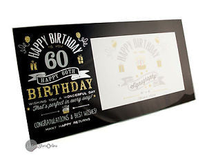 "Signography Birthday Glass Frame Black/Sil/Gold 6""x4""- 60"