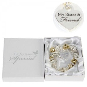 Juliana Gold/Silver Charm Bracelet with Heart Sister