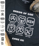 Armor of GOD 8-bit Ephesians 6 Spiritual Warfare | Christian Video Game T-Shirt