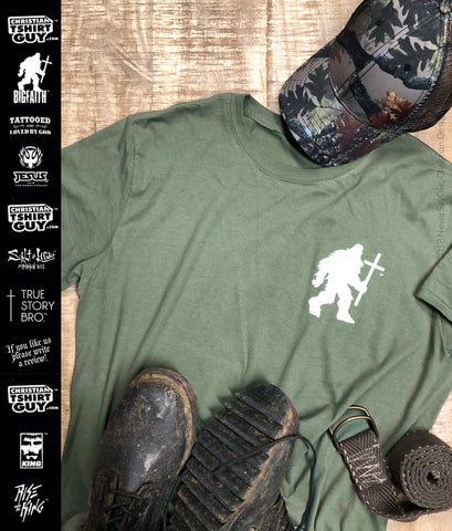 BIGFAITH™ Greater Works (Cross) V1| Bigfoot Sasquatch Yeti | Christian T-Shirt