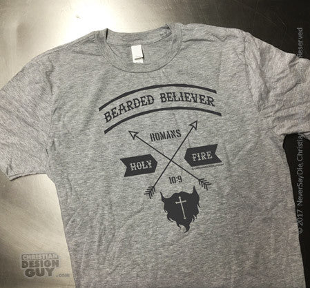 291b3156a26e Bearded Believer Romans 10:9 Bible Verse | Men's Christian T-Shirt –  ChristianDesignGuy.com