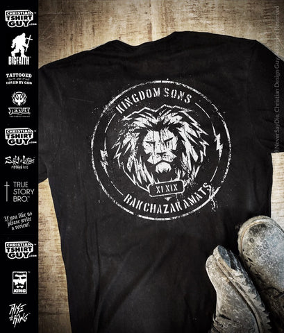 Kingdom Sons™ Battle Worn Logo | Men's Christian Biker T-Shirt