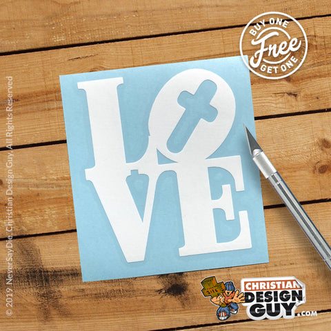 LOVE (Cross) Retro Style - 70's | Christian Decal Car Sticker BOGO