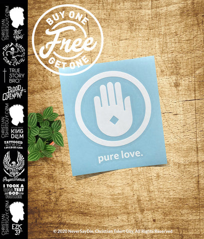 Pure Love - Jesus Hole in His Hand | Christian Decal Car Sticker BOGO