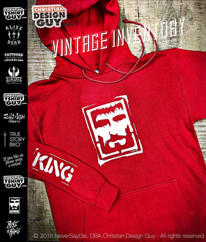 Rise with the King™ - King Issue Hoodie RED | Christian Hooded Sweatshirt