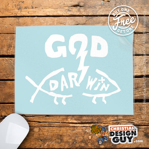 God Blasts Darwin Fish | Christian Decal Car Sticker BOGO