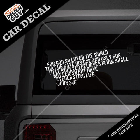 John 316 bible verse christian decal car sticker