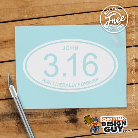 Runner John 3:16 Run Forever | Christian Decal Car Sticker BOGO