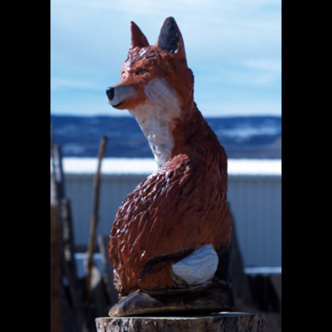 Fox Carving - Chainsaw Carving, wood carving, chainsaw carved fox, cabin art, cabin decor
