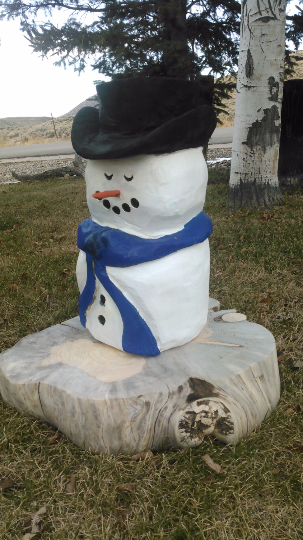 Wood Snowman - chainsaw carving - made to order, rustic wood snowman, cabin decor, wood carving