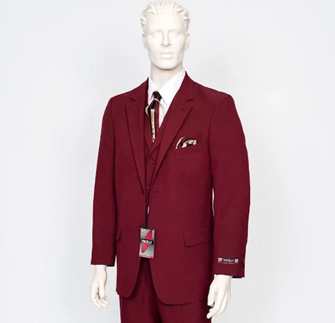 Pacelli 3pc Burgundy Suit CAMERON-10006