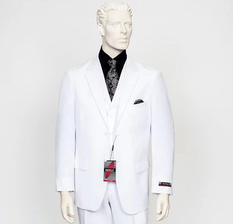 Pacelli 3pc White Suit CAMERON-10015