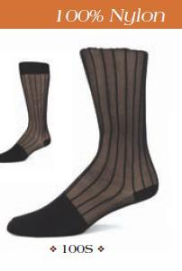 Knee High Ribbed Sheer Black Dress Sock