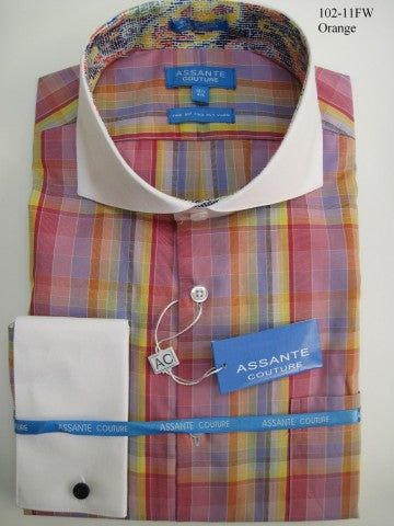 Assante Couture Orange & Pink Multi Plaid Cut Away Collar W/ French Cuff (102-11FW) (17 6/7)