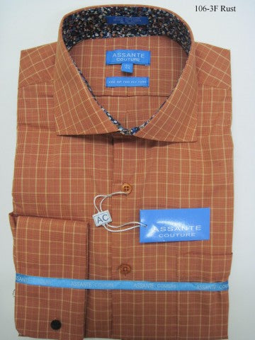 Assante Couture Orange Plaid Spread Collar W/ French Cuff (106-3F)