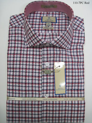 David Alexender By Assante Couture Red Plaid Spread Collar W/ French Cuff (110-7PC)