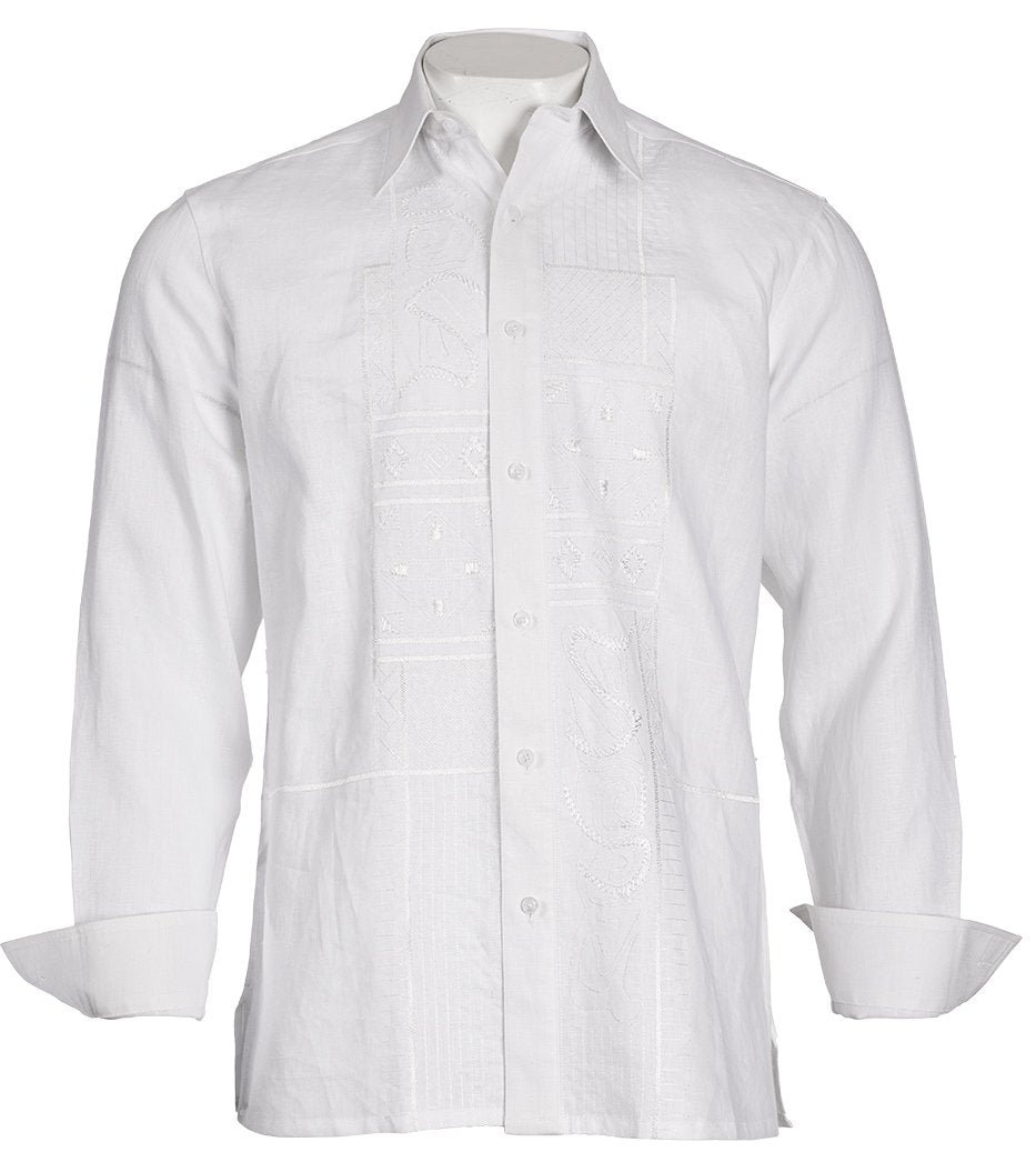 Inserch Linen Shirt with Embroidery 12510-02 White