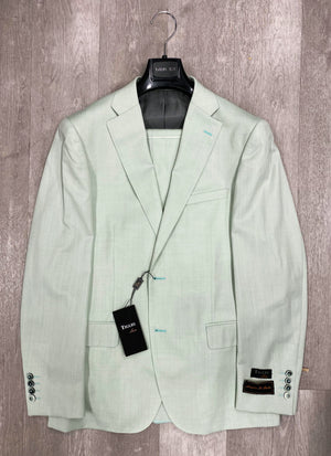 DOLCETTO Mint Sage Solid Modern Fit, Pure Wool Suit by TIGLIO LUXE Menswear TLS20012/1