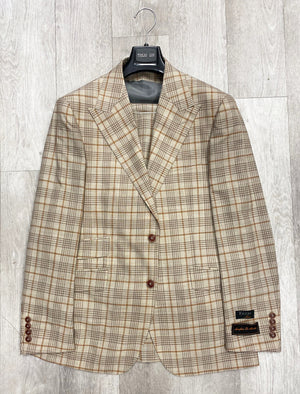 Tiglio Luxe Prosecco Light Brown w/ Rust Window Pane Modern Fit, TLS20048/4, Pure Wool Suit & Vest