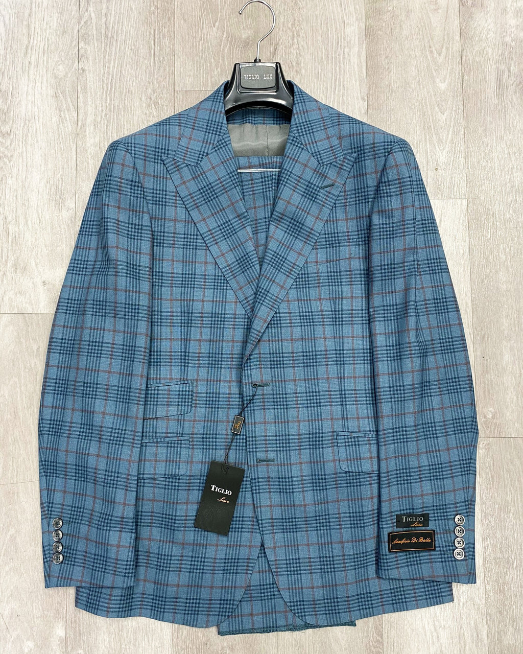 Tiglio Luxe Prosecco Teal Blue & Burgundy Window Pane Modern Fit, TLS20048/5, Pure Wool Suit & Vest