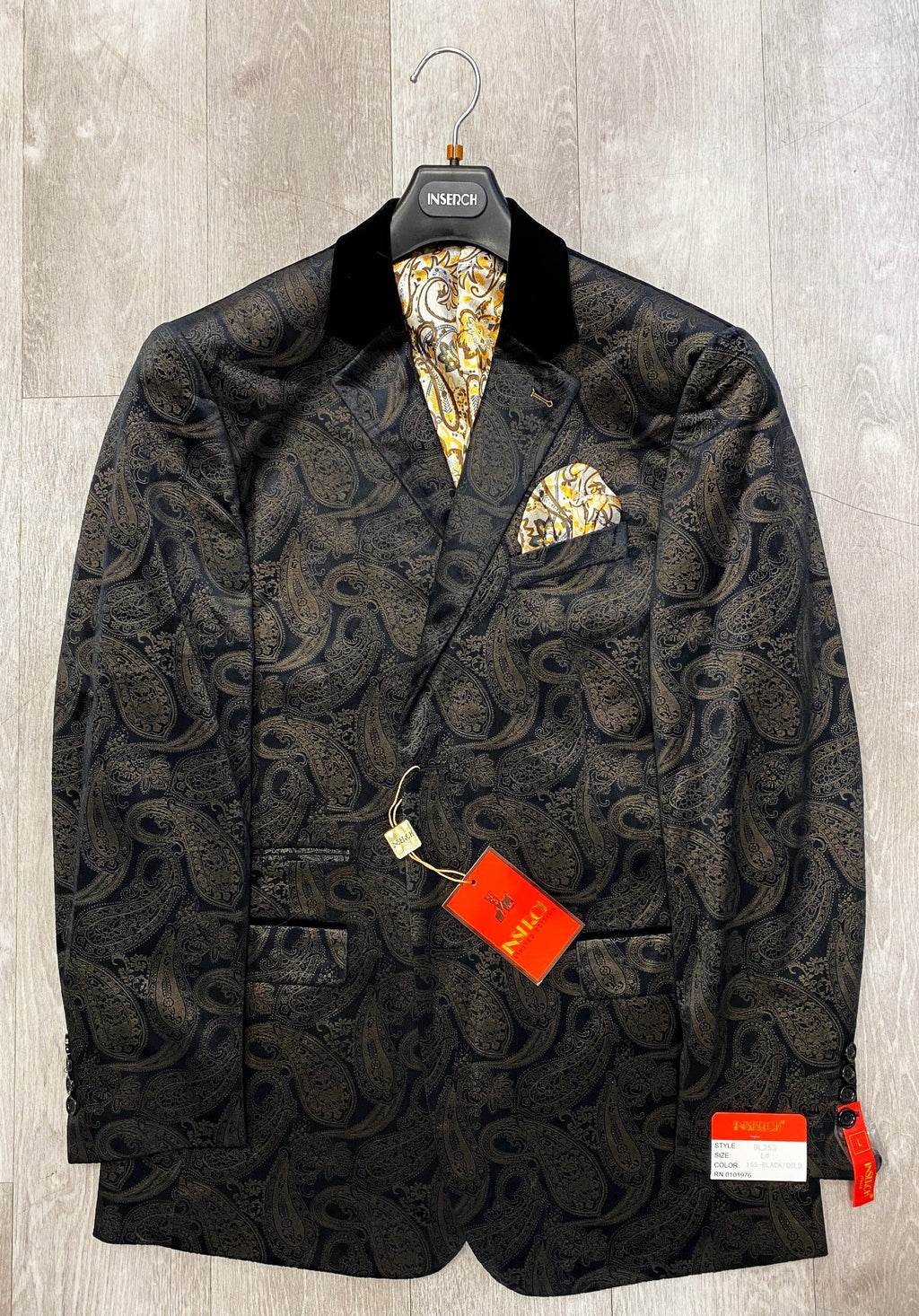Inserch Two Button Printed Paisley Velvet Blazer BL253-165