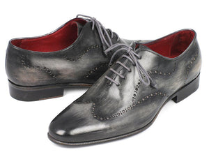 Paul Parkman Wingtip Oxfords Gray & Black Handpainted Calfskin - 741-GRY