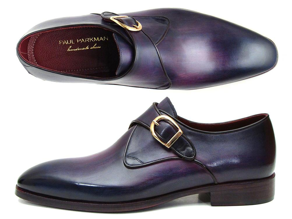 Paul Parkman Single Monkstrap Shoes Purple Leather - DW754T