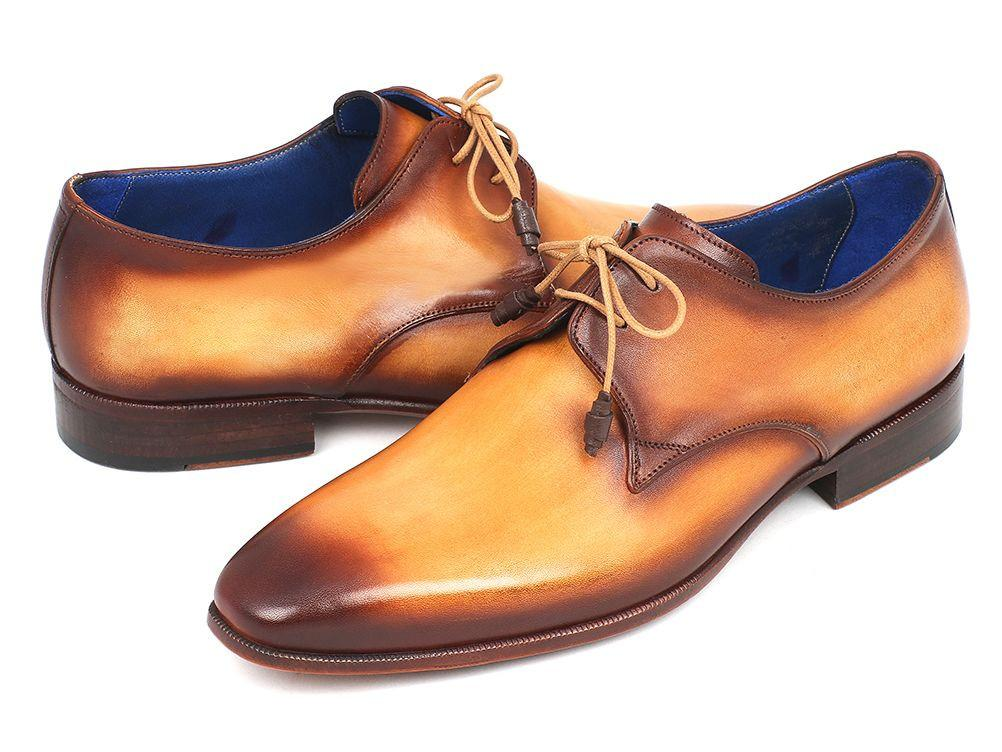 Paul Parkman Brown & Camel Hand-Painted Derby Shoes - 326-CMLBRW