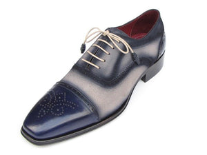 Paul Parkman Captoe Oxfords Navy Beige - 024-BLS