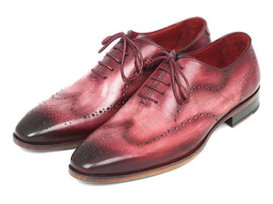 Paul Parkman Wingtip Oxfords Burgundy Handpainted Calfskin - 741-BUR