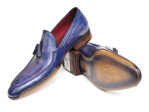 Paul Parkman Side Handsewn Tassel Loafer Blue & Purple - 082-BLU-PURP