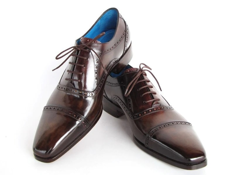 Paul Parkman Captoe Oxfords Anthracite Brown Hand-Painted Leather - 024-ANTBRW
