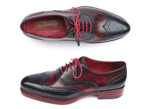 Paul Parkman Triple Leather Sole Wingtip Brogues Navy & Red - 027-TRP-NVYBRD
