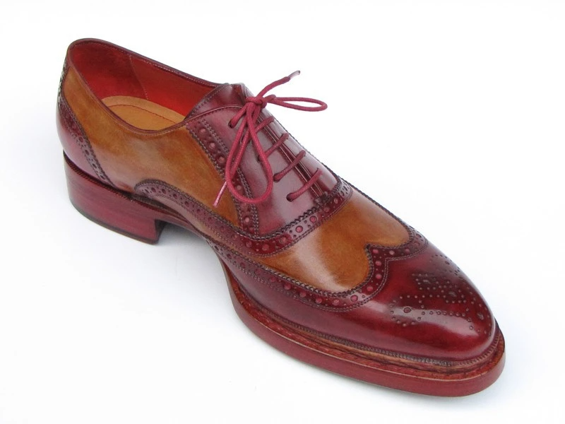 Paul Parkman Triple Leather Sole Wingtip Brogues Bordeaux & Camel - 027-TRP-CMLBRD